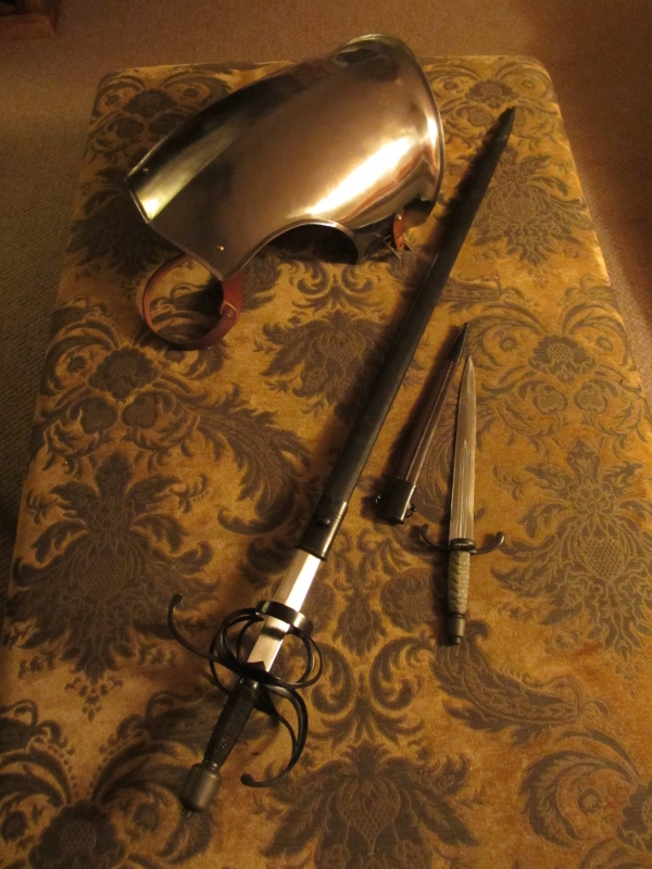 Main gauche, rapier and breastplate