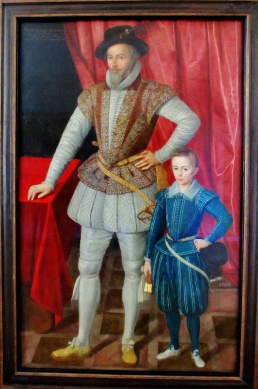 Sir Walter Raleigh and his son, Walter, known as 'Wat', painted in 1602 a year before the death of Elizabeth I