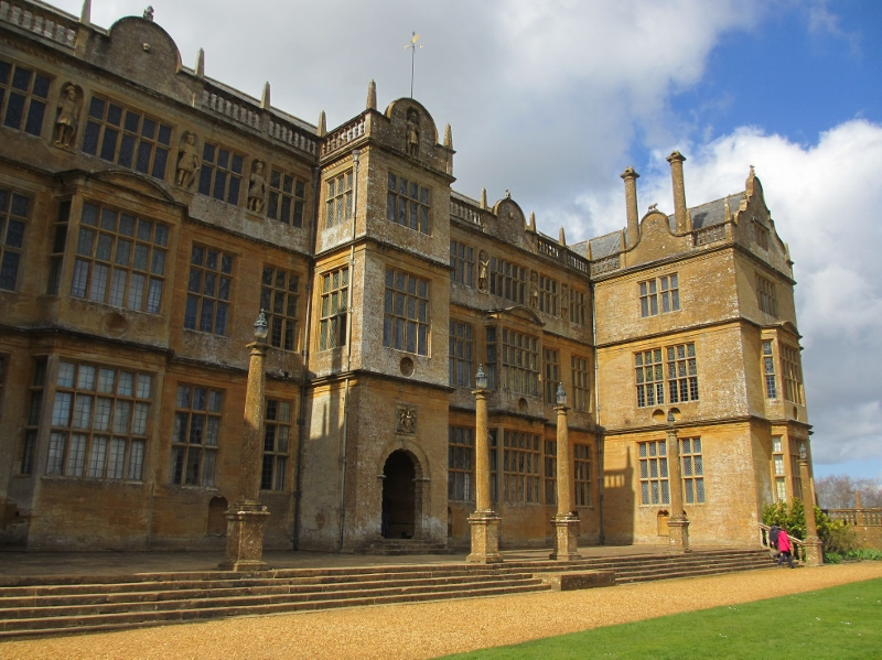 The frontage of Montacute showing some of the 'Nine Worthies' in niches on the top floor outside the Long Gallery